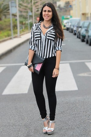 white Rosegal shirt - black Calzedonia leggings - black Bershka bag