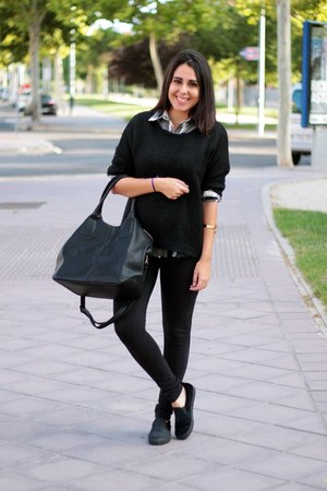 black Primark sweater - black Lefties leggings - silver Mulaya shirt