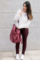 white Zara sweater - crimson Zara leggings - crimson Bershka bag