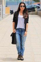 black Lefties blazer - sky blue pull&bear jeans - black Primark bag