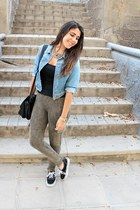 black Pimkie shirt - sky blue Primark jacket - dark khaki Mango leggings