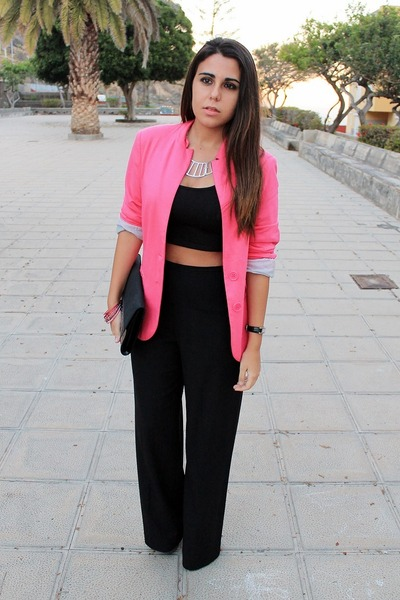 black H&M bag - bubble gum Stradivarius blazer - black Stradivarius top