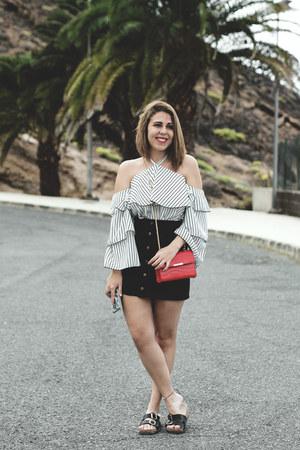 white sammydress blouse - red dresslily bag - black Yoshop skirt
