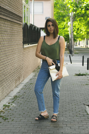 sky blue zaful jeans - olive green Encuentro shirt - ivory zaful bag