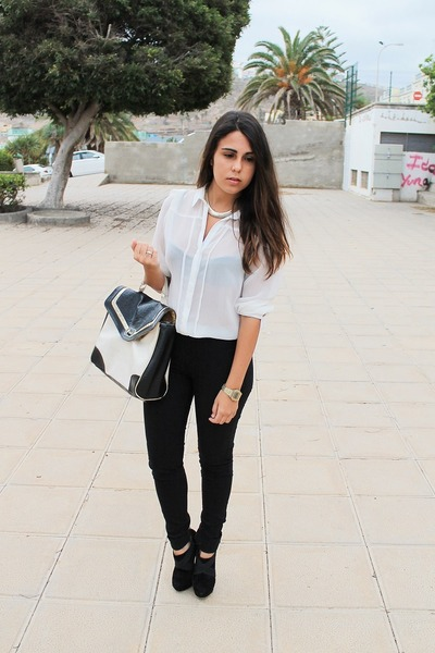 78bd500eeccf8b White Primark Blouses, White Primark Bags, Black Shana Pants |