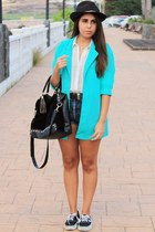 aquamarine Choies blazer - black suiteblanco hat - black Primark bag