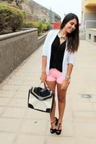 white Primark bag - white pull&bear blazer - bubble gum Zara shorts