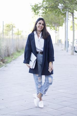 white velvet zaful accessories - navy Zara coat - sky blue Oasapcom jeans