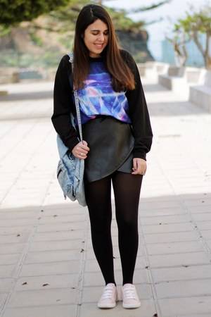deep purple Oasapcom sweater - light blue Primark bag - black Oasapcom skirt