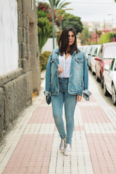 sky blue Pull & Bear jeans - silver Aliexpress shoes