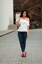 white Stradivarius shirt - navy pull&bear jeans - silver Primark bag