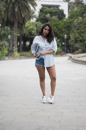silver Primark bag - light blue Zara shirt - sky blue sammydress shorts