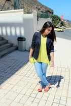 yellow BLANCO bag - sky blue Primark jeans - navy Tommy Hilfiger blazer