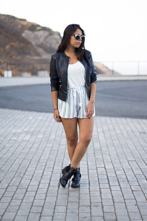black Pimkie boots - black Lefties jacket - white H&M shirt