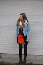 carrot orange orange H&M skirt - light blue jeans acne jacket