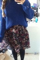 flowers H&M dress - black black H&M tights - blue blue knit lager 157 jumper