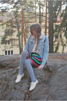 pleated H&M skirt - jeans acne jacket - brown backpack second hand bag