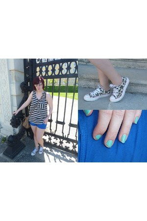customised pull&bear shorts - striped new look top - vintage Converse sneakers