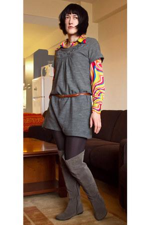 yellow multi-colored Koto shirt - heather gray dress Only sweater