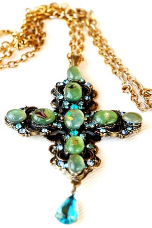 turquoise blue Vintage Cross Pendant necklace