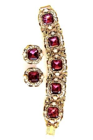 Vintage Amethyst bracelet & earrings
