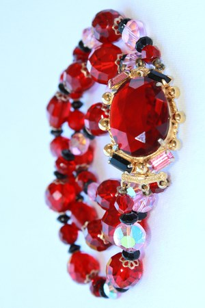 ruby red Vintage Ruby Crystal bracelet