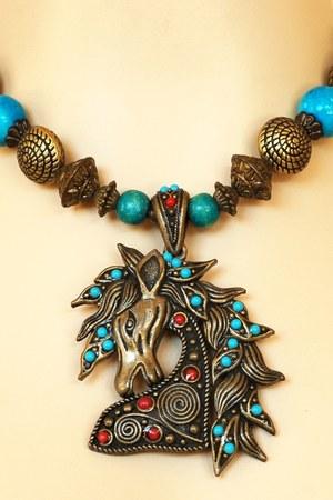 turquoise blue Vintage Horse Pendant necklace