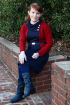 navy liz baker boots - navy monteau dress - navy We Love Colors tights