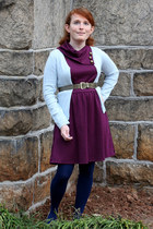 light blue Takeout cardigan - magenta monteau dress - navy We Love Colors tights