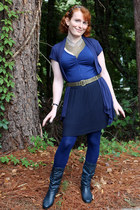 gold M Style Lab necklace - navy liz baker boots