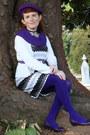 White-as-u-wish-dress-purple-jh-sports-hat-deep-purple-we-love-colors-tights