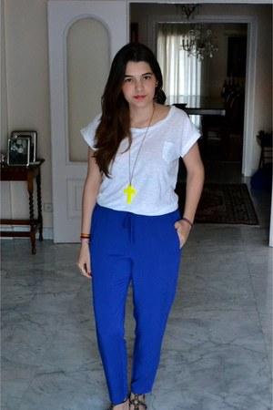 blue Mango pants - yellow Maus necklace - white unknown brand t-shirt