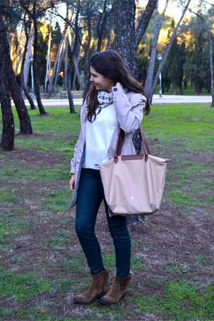 neutral H&M coat - brown Gloria Ortiz boots - peach H&M sweater - Primark scarf
