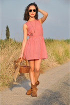fox OASAP ring - checked Titis Clothing dress - acorn OASAP necklace