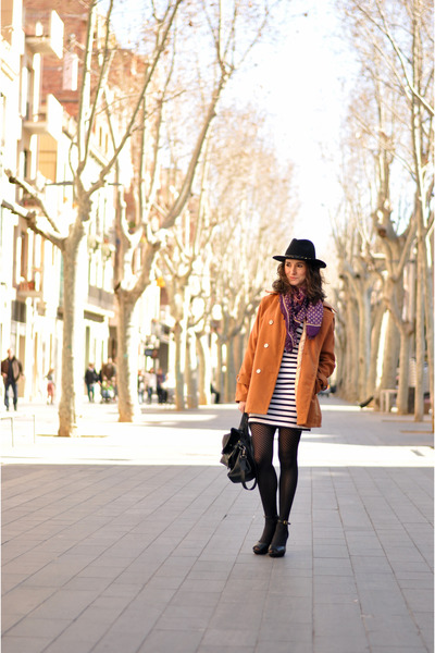 tawny Mart of China coat - black striped H&M dress - black Zara hat