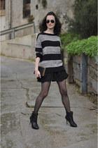 black leather Zara boots - black Choies bag - black striped Mango jumper