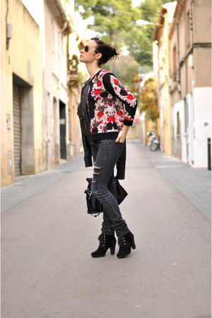 black flower jovonna london jumper - black ripped Mango jeans