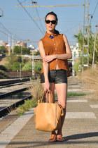 gray leather pull&bear shorts - light orange zips david jones bag
