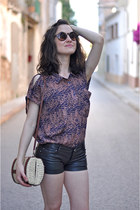 tawny tribal Chicwish blouse - ivory rafia pull&bear bag