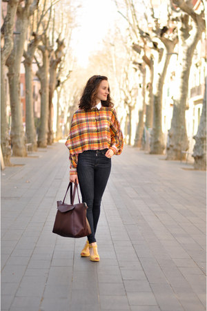 orange swing checkered asos blouse - mustard Clarks shoes - navy Topshop jeans