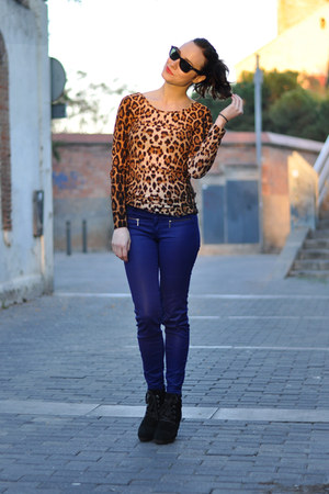 black suede Mango boots - brown OASAP dress - navy coated Pull and Bear pants