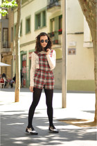 crimson tartan Ark Clothing romper - black brogues Clarks shoes