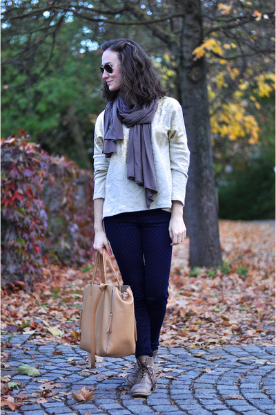dark brown Zara boots - periwinkle Zara sweater - mustard david jones bag