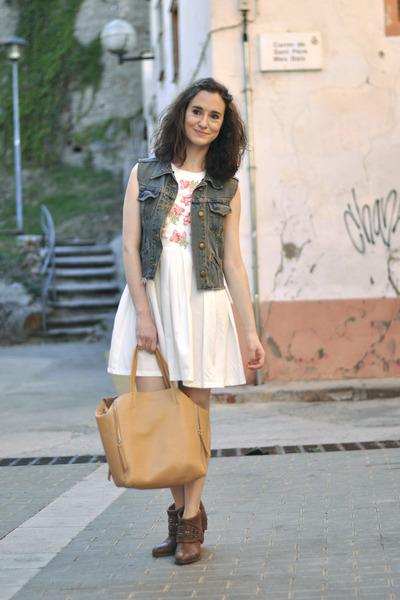white Chicwish dress - blue denim DIY vest