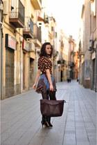 ruby red multiprint JOVONNISTA dress - black Zara boots - maroon Zara bag