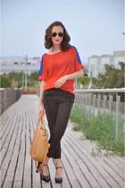 navy Mango heels - light orange david jones bag