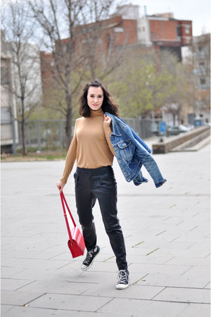 blue denim Lois vintage jacket - red PepaLoves bag - black Zara pants