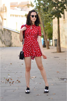 red flowered blackfive romper - black brogues Clarks shoes