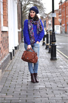 tawny david jones bag - maroon Bocage boots - sky blue Mango jeans