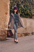 heather gray Zara coat - blue Zara jeans - magenta Essentials hat